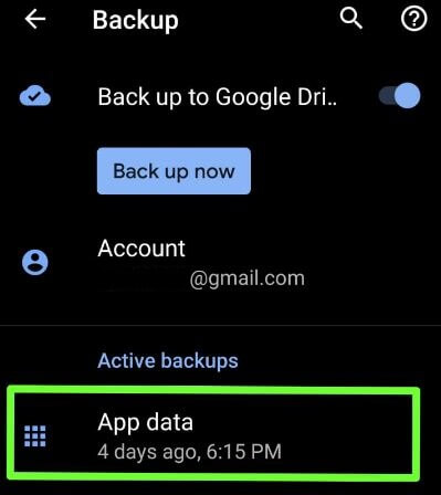 Disable apps backup on Android 9 Pie