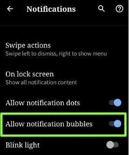 Disable notification bubbles in Android Q Beta 2