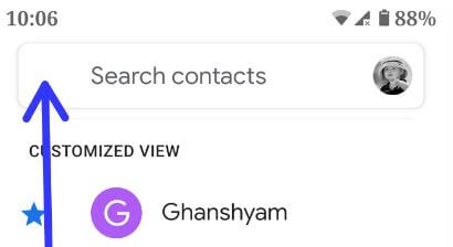 Google Contacts app on android phone
