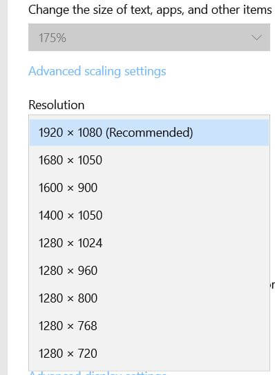 How to change screen resolution in Windows 10 PC