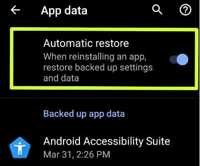 How to disable apps backup on Android 9 Pie