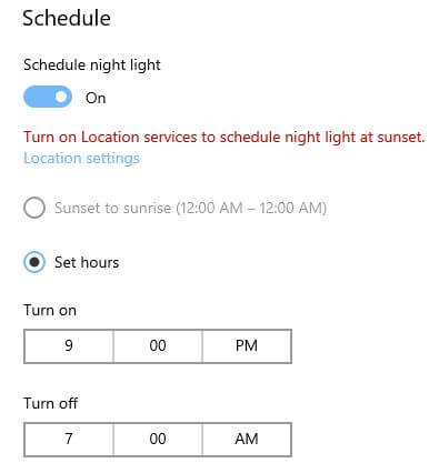 How to turn on Night light in Windows 10