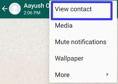Open WhatsApp contact in your android device