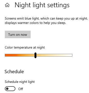 Turn on Night light in Windows 10 PC