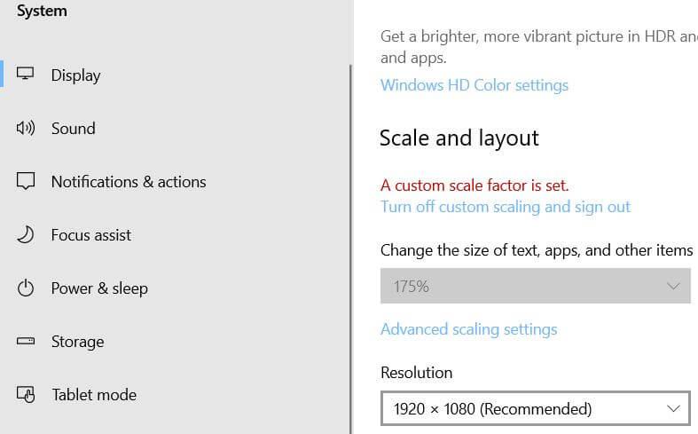 change the Windows 10 resolution