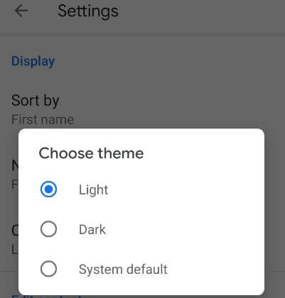 turn on dark mode in contacts app Android phone