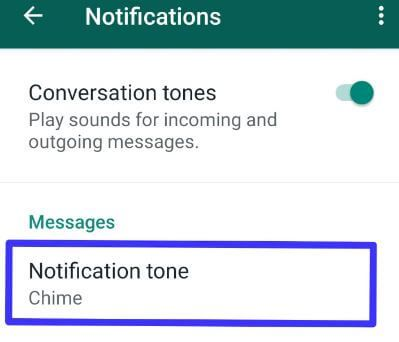 Change WhatsApp notification sound in android device