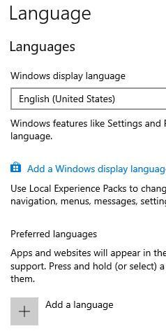 Change Windows 10 language