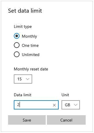 Control data usage on Windows 10
