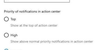 How to set app priority of notification in Windows 10