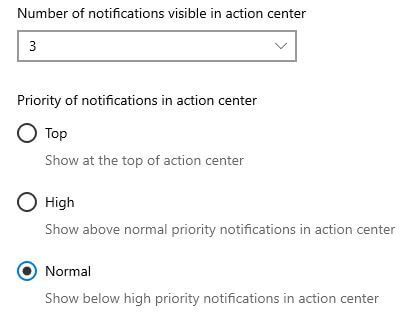 How to set app priority of notification in Windows 10