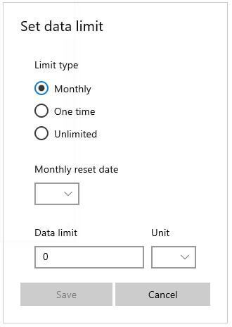 How to set data limit in Windows 10 PC