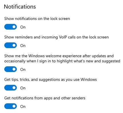 How to turn off Notifications Windows 10 PC