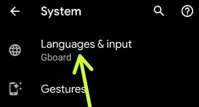 Language and input settings in Google Pixel 3a
