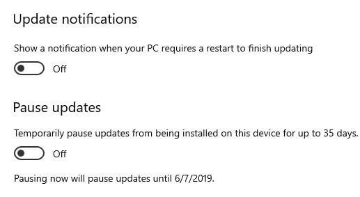 Pause updates in Windows 10