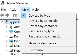 Show hidden devices in Windows 10 Laptop