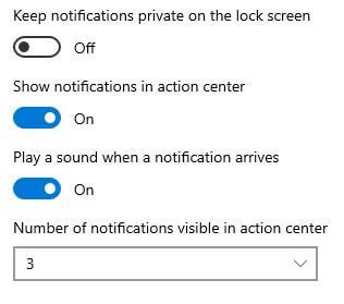Show or hide notifications in action center Windows 10