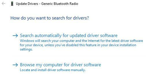 Update Windows 10 Bluetooth driver