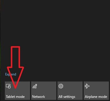 Use tablet mode in Windows 10 laptop