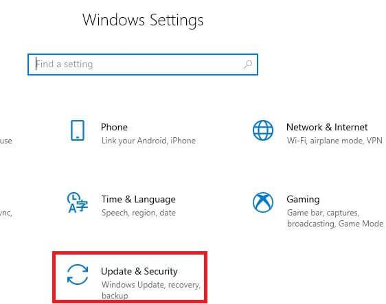 Windows 10 update and security settings