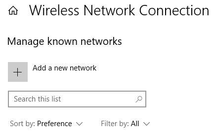 Add a new network on Windows 10