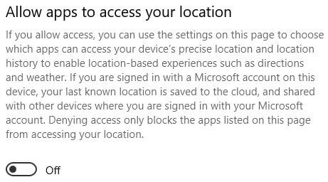 Allow apps to access your location in Windows 10