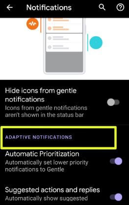Android Q Beta 4 Adaptive notifications setting
