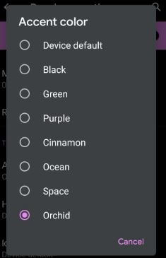 Android Q Beta 4 accent colors