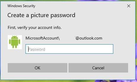 Create a picture password on Windows 10