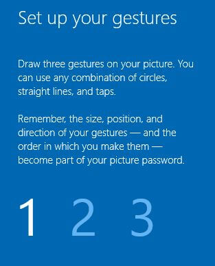 Create and use picture password on Windows 10