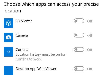 Enable or disable apps can access your precise location in Windows 10