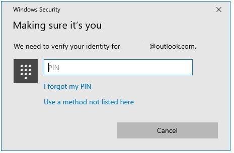 Enter PIN to change Windows 10 password