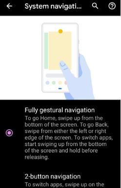 Fully Gestural navigation on Android Q Beta 4