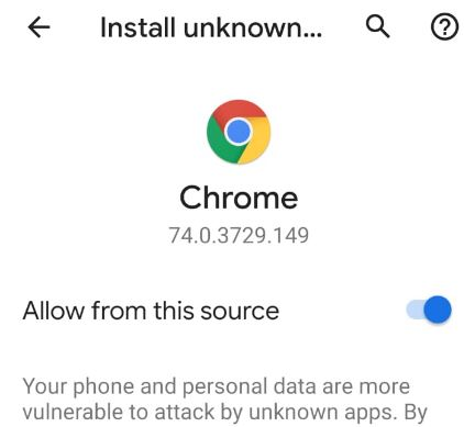 How to allow install from unknown sources Android 9 Pie