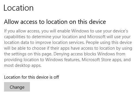 Set default location for Windows 10 PC