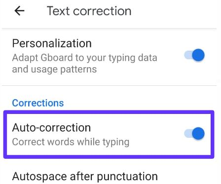 Turn off autocorrect Android 9 Pie