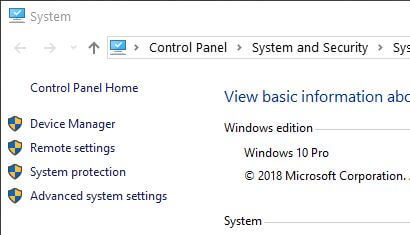 Advance system settings in Windows 10 PC