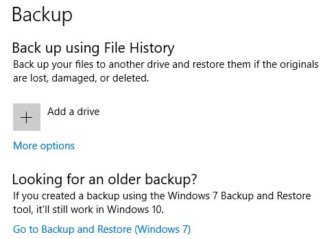 Backup data using file history in Windows 10