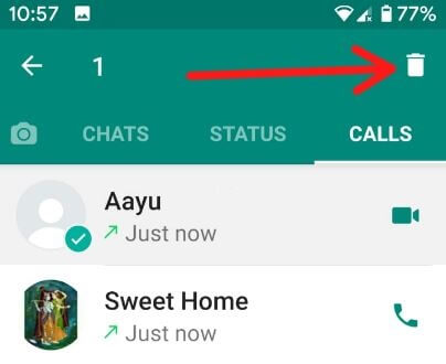 Clear call log in WhatsApp Android