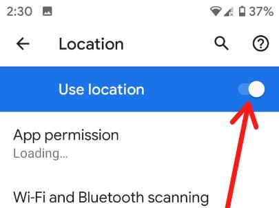 Enable or disable location in android Pie 9