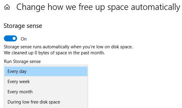 Free up disk space in Windows 10 PC
