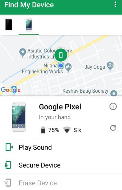 Google find my phone in android