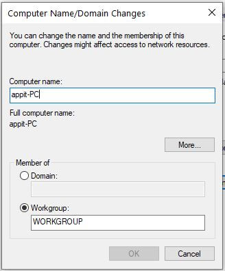 How to change computer name in Windows 10