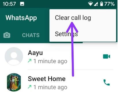 How to delete WhatsApp call history Android