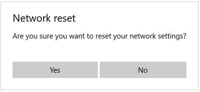 Reset Windows 10 network adapter