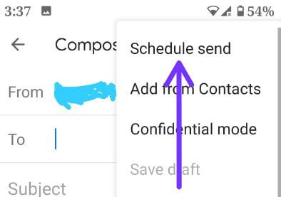 Set schedule an email in Gmail app android phone
