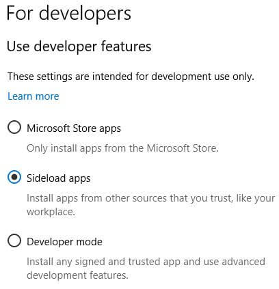 Turn off developer mode on Windows 10