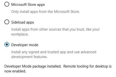 Turn on developer mode Windows 10