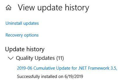 Uninstall updates in Windows 10 PC