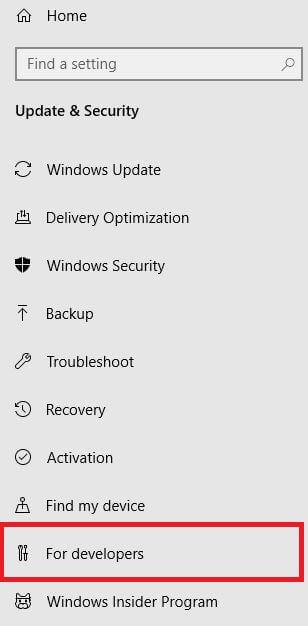 Windows 10 developer mode settings